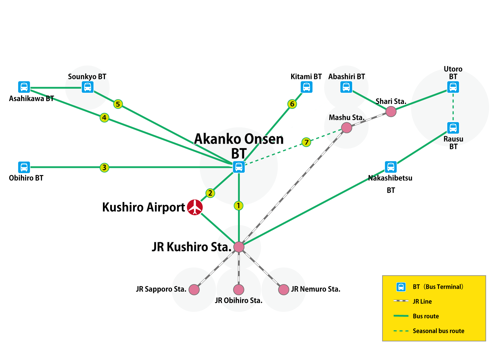 Akankoonsen BT (bus terminal) departure and arrival line
